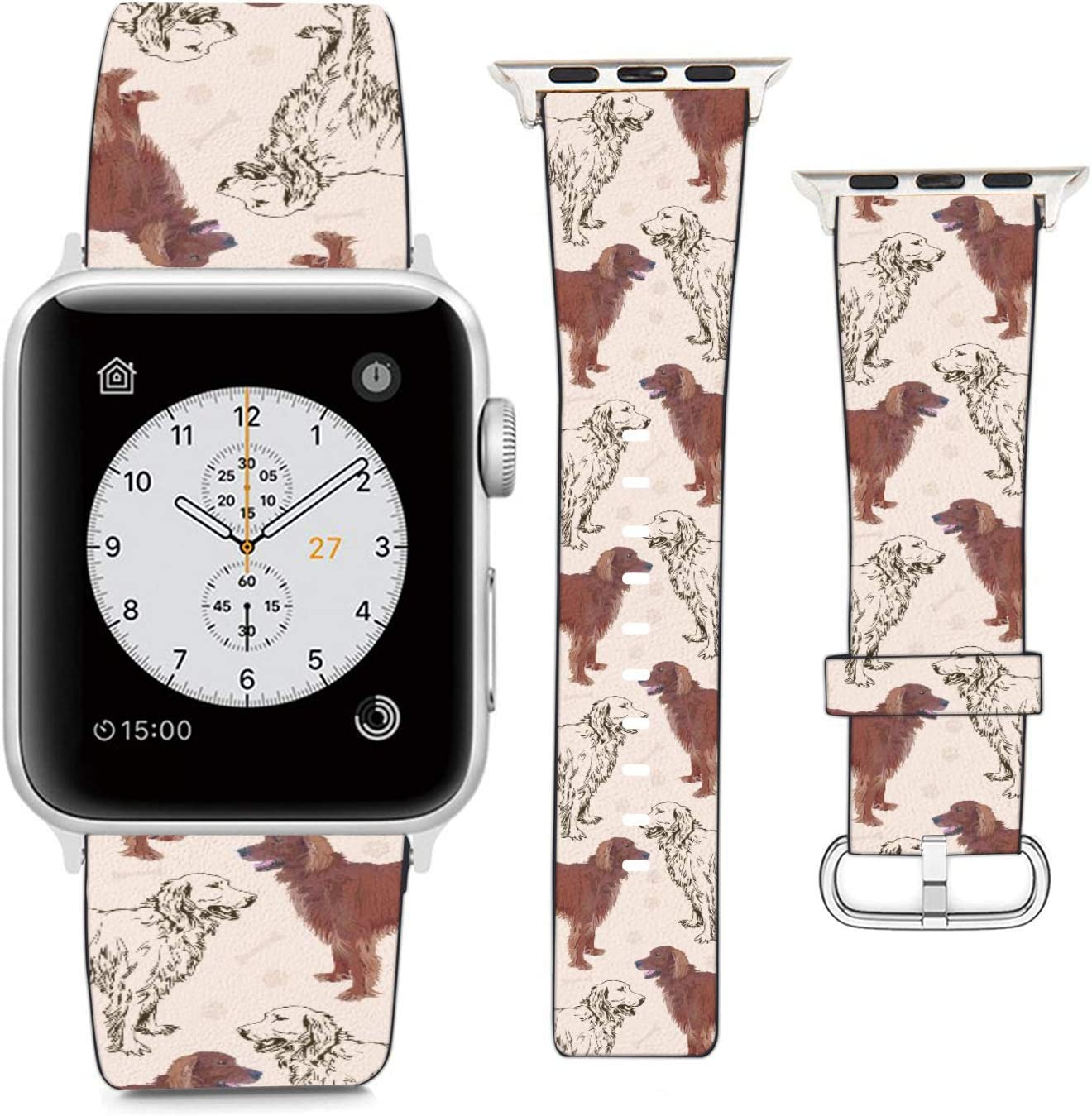 Compatible with Apple Watch Wristband 42mm 44mm, (Golden Retriever Dog) PU Leather Band Replacement Strap for iWatch Series 5 4 3 2 1