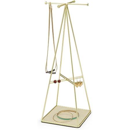 UMBRA Prisma Jewelry Stand. Arbre à bijoux Prisma en métal doré mat. Dimension 12.7x12.7x36.2cm
