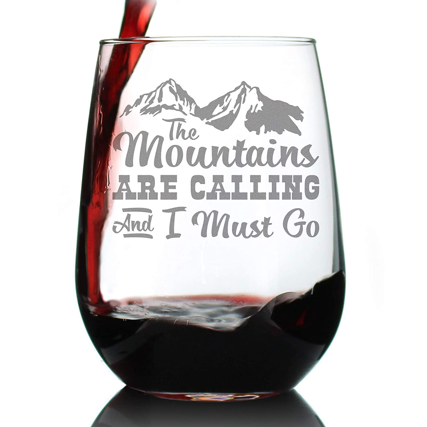 Fashionable Mountains Are Calling – Cute Stemless Funny Limited price sale Wine Glass Lar