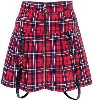 Women's High Waist Punk Rock Zip Up Gothic Pleated Skirt Red Plaid Solid Black Mini Skirt