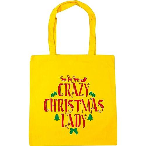 2216104f381 HippoWarehouse Crazy Christmas lady Tote Shopping Gym Beach Bag 42cm x38cm