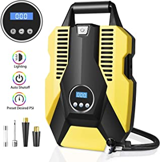 Portable Air Compressor Pump Digital Tire Inflator 150PSI DC 12V Car Air Pump with LED Light Auto tire inflator for Car, Bicycle, Motorcycle, Basketball and Other Inflatables(Yellow)