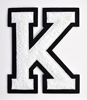 Varsity Letter Patches - White Embroidered Chenille Letterman Patch - 4 1/2 inch Iron-On Letter Initials (White, Letter K Patch)