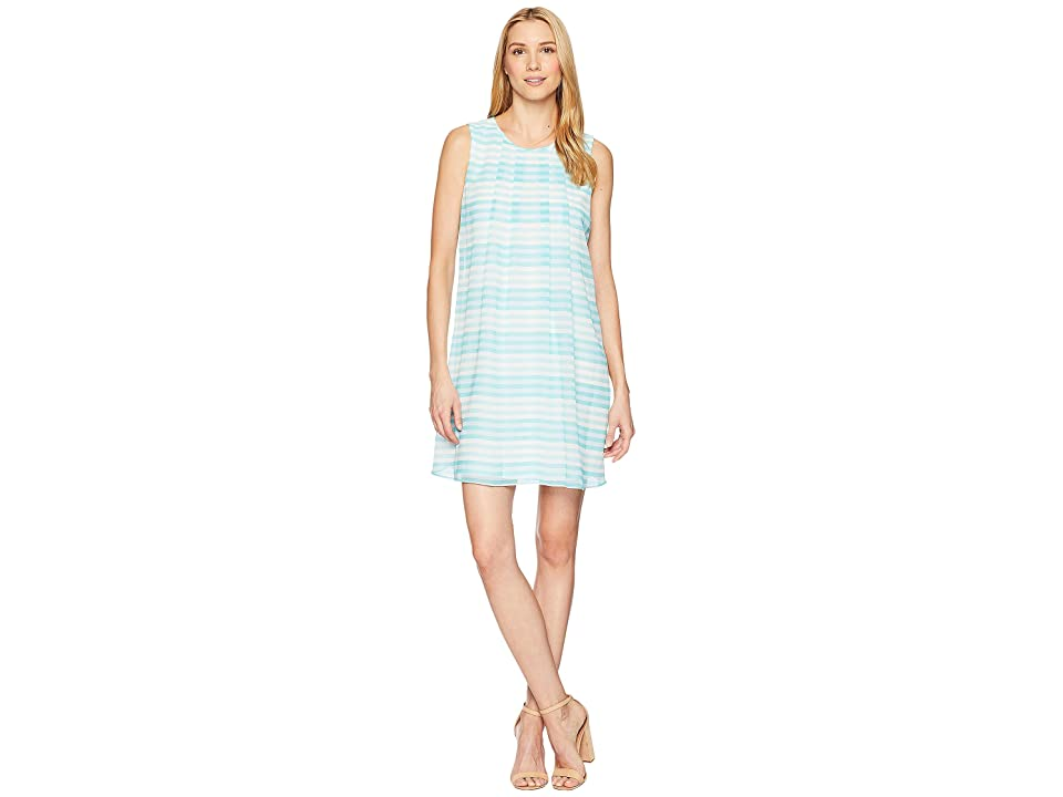 Calvin Klein Printed Sleeveless A-Line Dress (Seaspray) Women