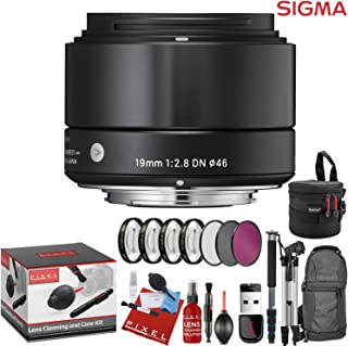 Sigma 19mm f/2.8 DN Art Lens for Micro Four Thirds (Black) with 7 Piece Creative Filter Kit and a Heavy Duty Extra Padded Lens Case