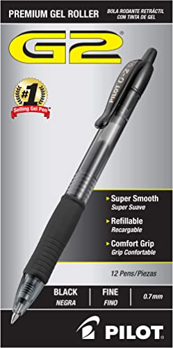 PILOT G2 Premium Refillable & Retractable Rolling Ball Gel Pens, Fine Point, Black Ink, 12-Pack (31020)