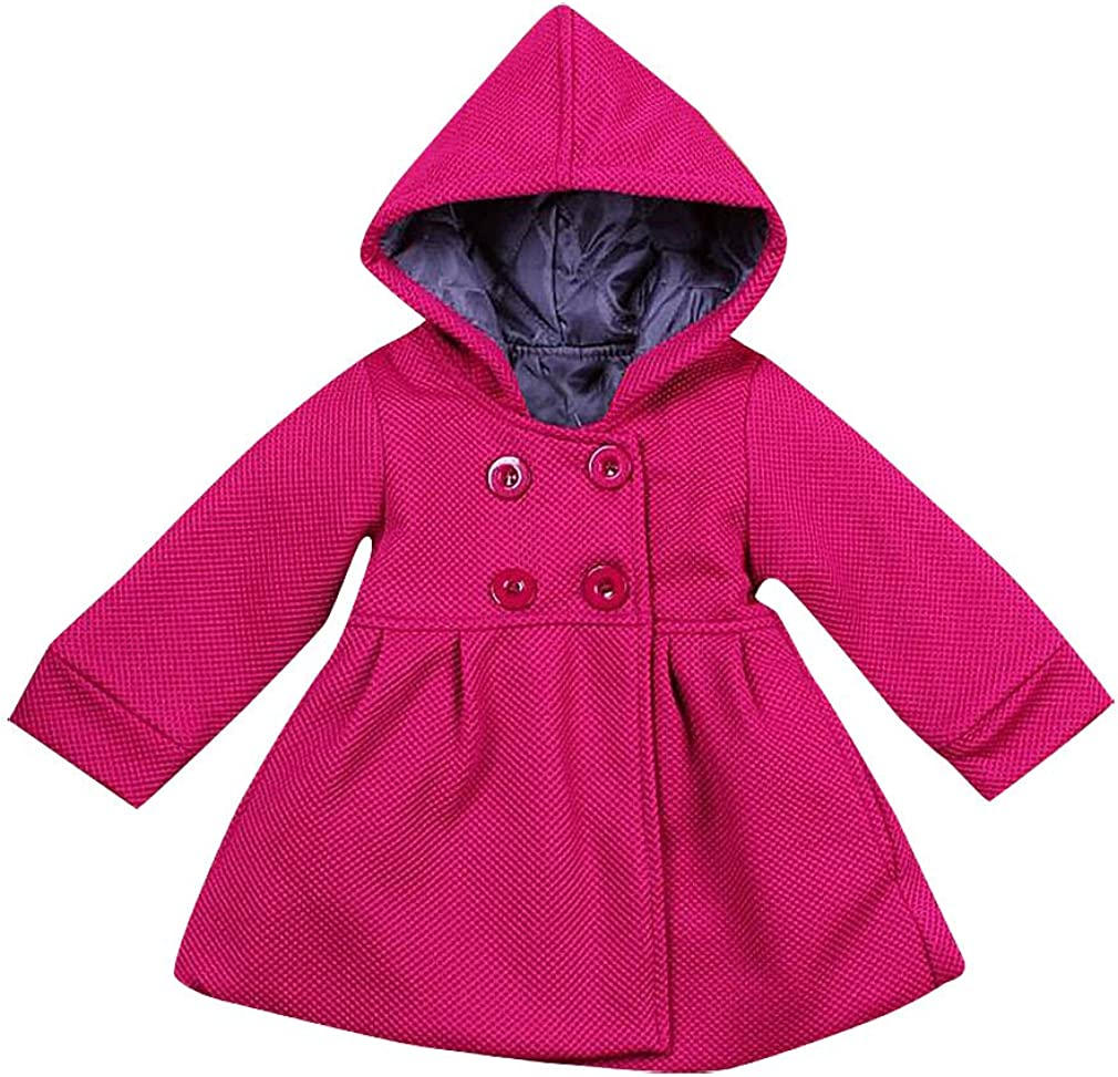 Sweety Girls' Pink Or Magenta Double Breasted Knitted Hooded Dress Like Coat