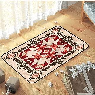 Indoor Outdoor Decorative Floor Mat All Weather Door Mats Native American Mayan Pyramids with Non Slip Backing, 47 x 31.5 inch