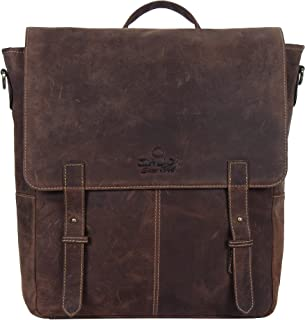 OMAX Unisex Handmade Strong Sturdy Brown 100% Genuine Leather Large Compartment Bag with Strong Adjustable Shoulder Strap Backpack Style Easy to Carry Bag for Office College Work Formal Casual Use