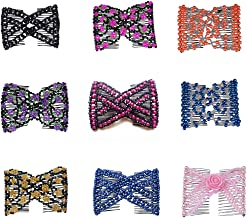 Lovef Magic Easy Hair Comb Stretchy Beaded Hair Combs with Sweet Color Beads Pearl in Assorted Color and Design-10 Pcs