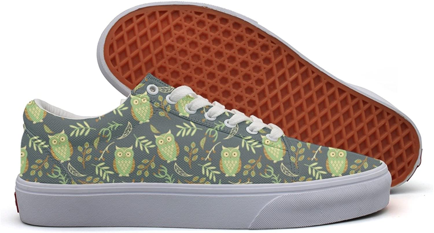 Cute Owls Leaves For Party Women's Casual Sneakers Slip-On Athletic Nursing Original