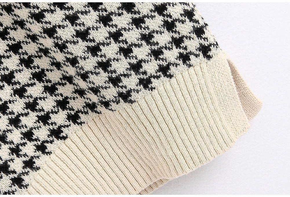 Check Knit Sweater Vest Ladies Oversized Pullover Retro Sleeveless V-Neck Ladies Vest Sweater Top