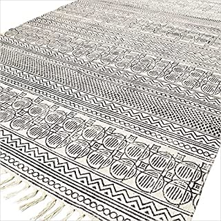 Eyes of India - 5 X 8 ft Off-White Black Cotton Block Print Area Accent Dhurrie Rug Weave Boho Chic Indian Bohemian