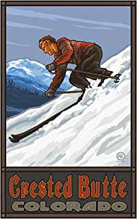 Crested Butte Colorado Downhill Skier Man Travel Art Print Poster by Paul A. Lanquist (12