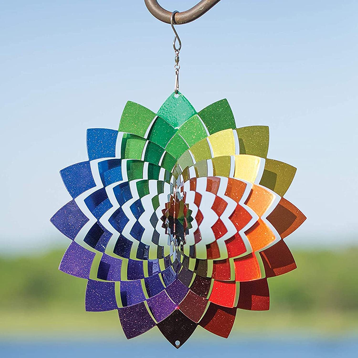Wind store Spinner 3D Colorful Geometric Catcher Flower Max 51% OFF Metal Win