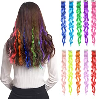 """10pcs Colored Clip in Hair Extensions 22"""" Curly Fashion Hairpieces for Party Highlights Multi Color"""