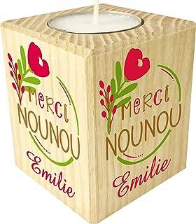 Gravure Events Bougie personnaliséeMerci Nounou – Porte Bougie en Bois personnalisé avec Le prénom – Cadeau de Fin d'anné...