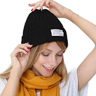 c896a118c57 PULI Winter Unisex Solid Color Beanie Hat Thick Rib Knitted Cuffed Skull Cap