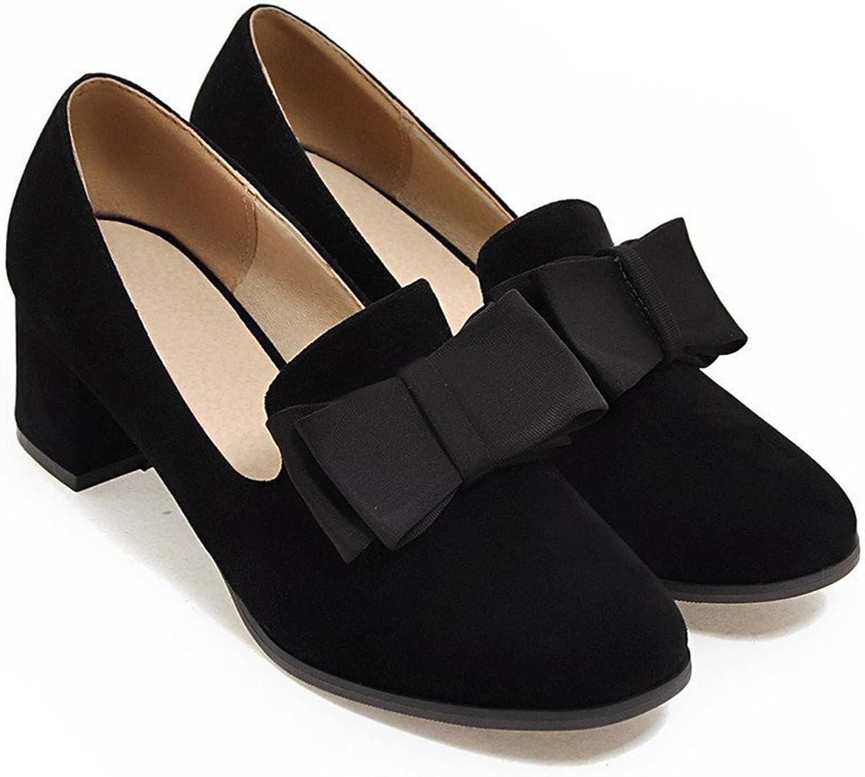 Reinhar Women Pumps Round Toe Sweet Bow Square Med Heel Slip on Dress shoes