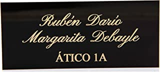 Placas Buzón de Aluminio Negro y Grabado Brillante. Cinta autoadhesiva. Grosor 0,5mm y tamaño máximo 100x40mm