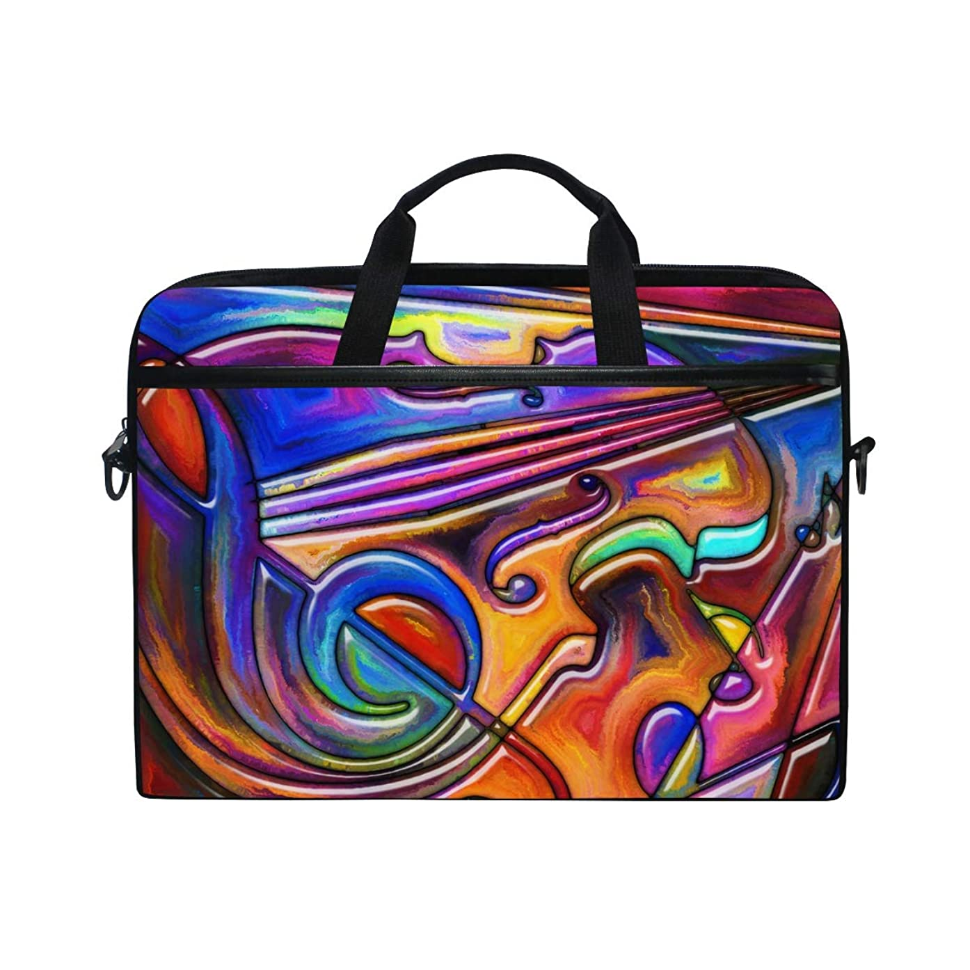 Laptop Case, Rainbow Color Music Note Guitar Colorful Pattern Computer Sleeve Protective Bag 3 Layer with Durable Zipper for Lenovo Hp MacBook Pro Neoprene Notebook 14 15 15.4 inch