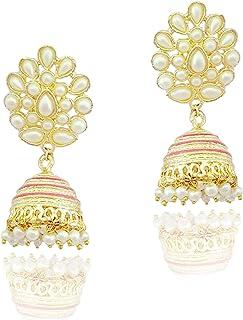 Moonstruck Traditional Indian Golden Minakari Jhumka Earrings With Pearls for Women/Ethnic Golden Jhumki Drop Earrings (Pink)