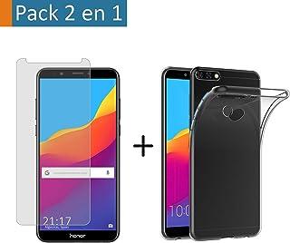 Tumundosmartphone Pack 2 en 1 Funda Gel Transparente + Protector Cristal Templado para Huawei Honor 7C/Y7 2018