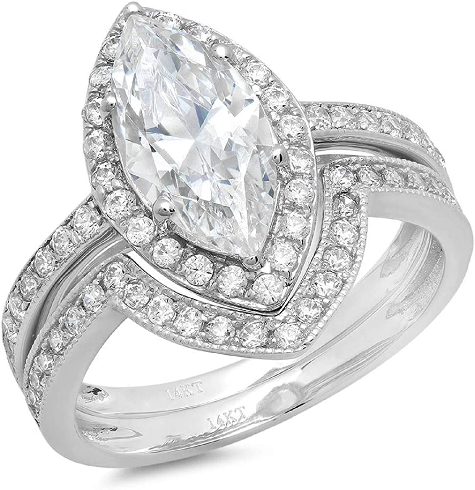 Clara Pucci 2.16ct Marquise Round Cut Pave Halo Solitaire Accent Genuine Flawless White Lab Created Sapphire Engagement Promise Statement Anniversary Bridal Wedding Ring Band set Solid 18K White Gold