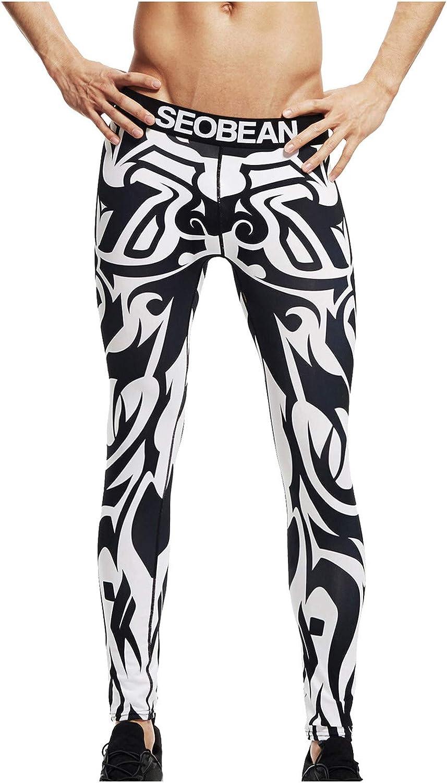 Pantalones De Hombre,Men's Print Cotton Breathable Sports Leggings Thermal Long Johns Underwear Pants