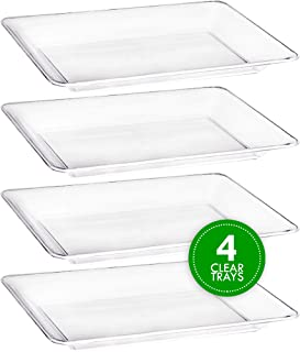 Plasticpro Plastic Serving Trays - Serving Platters Rectangle 10 X 14 Disposable Party Dish Crystal Clear Pack of 4
