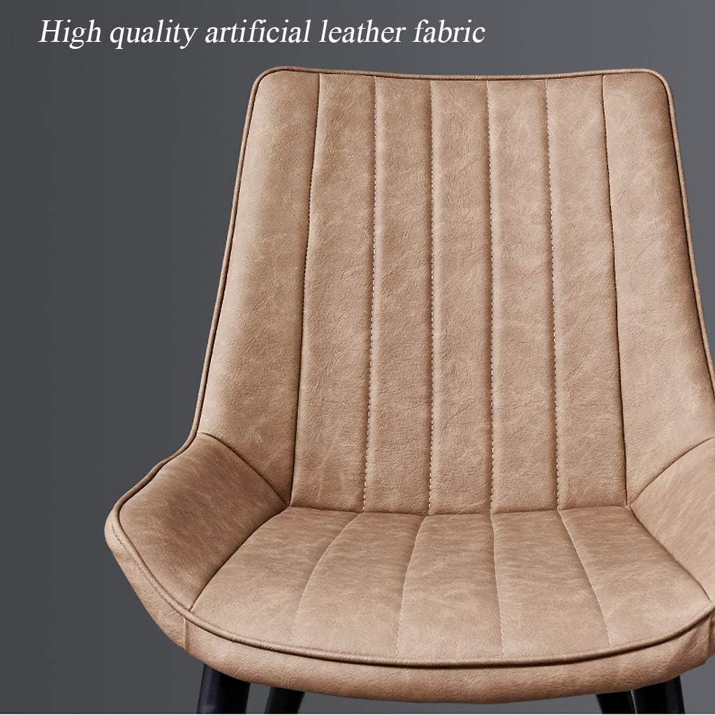 Fauteuils d'attente en métal Noir Pieds et Assise en Cuir Artificiel/pour terrasse de Salon, capacité de Charge 150KG / Taille 43 * 50 * 84cm B