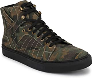 Shences Mens Green Canvas Army Print Sneaker Boot (Colour- Green