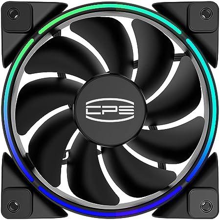 CP3 Ventilateurs de boîtier Ventilateurs de refroidissement PC RGB adressables 120mm Ventilateurs silencieux à double boucle d'éclairage compatibles avec AURA Sync, ventilateur PWM (1 paquet)