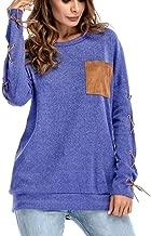 JMETRIE Womens Round Neck Hand Cuff Strap Pocket Shirt Long Sleeve Pullover Sweatshirt Blouse