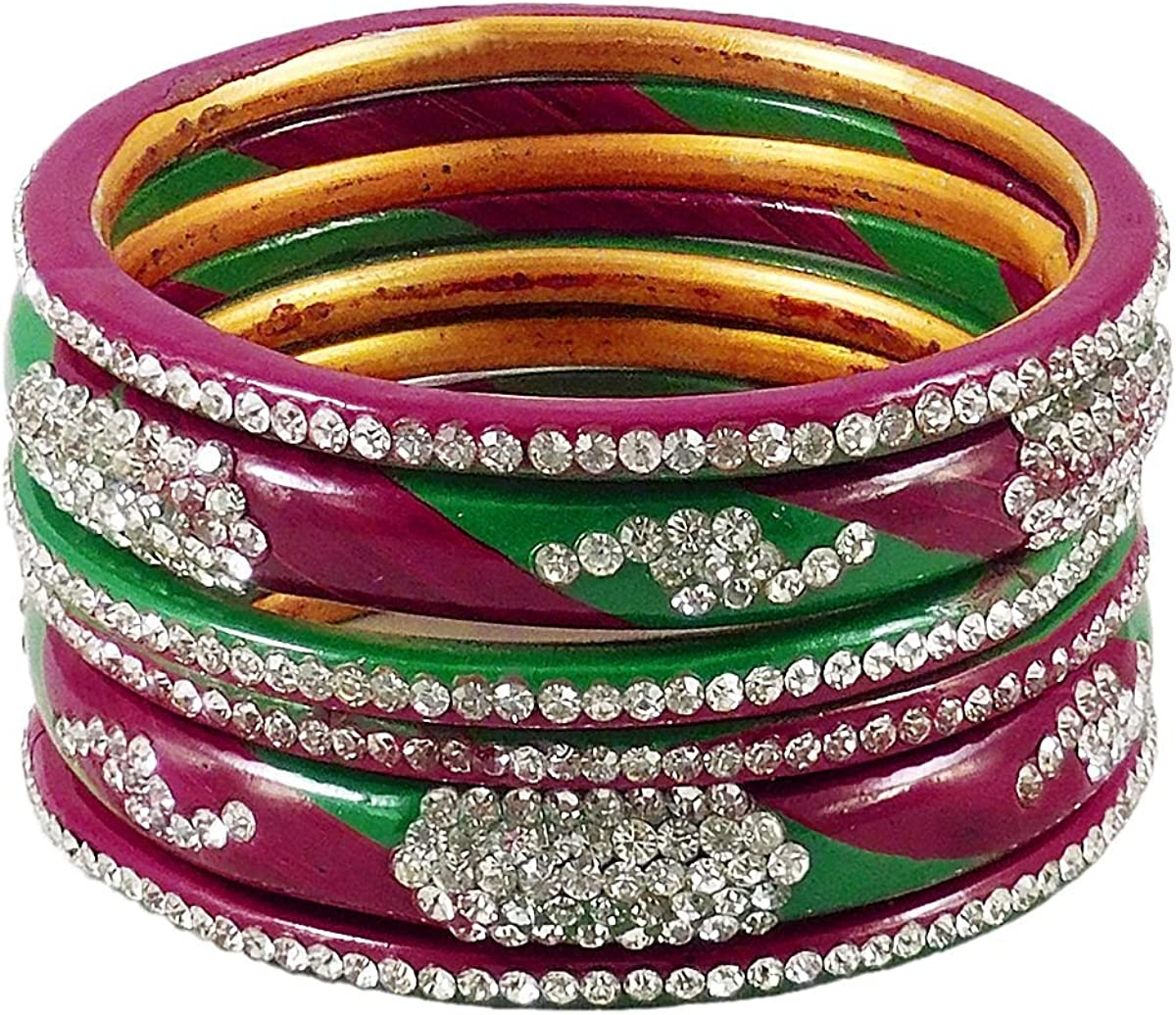 DollsofIndia Stone Studded Maroon with Green Lac Bangles - Size - 2-7 - Dia - 2.4 inches (RE75)