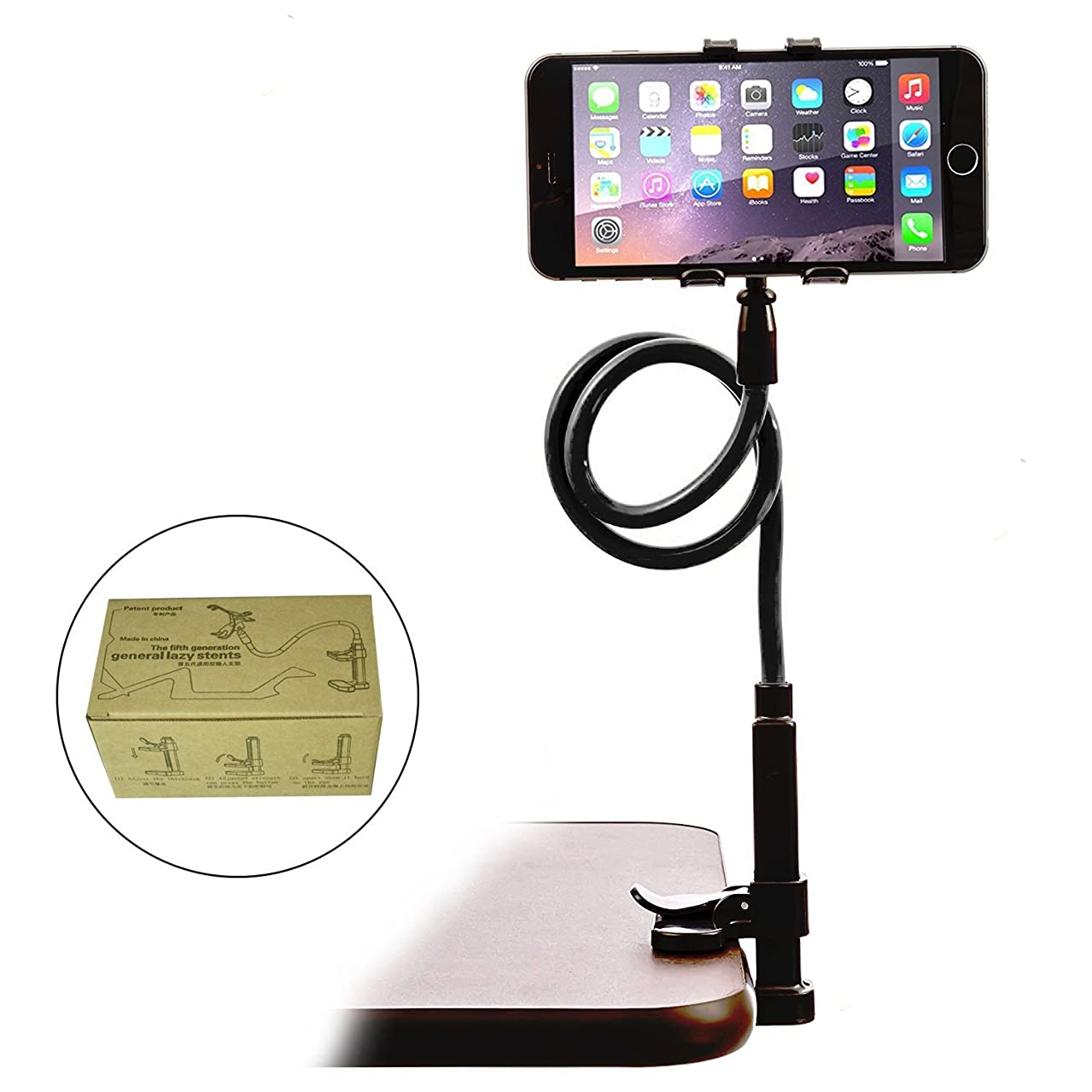 IHUIXINHE Mobile Phone Stand for Desk, Gooseneck Flexible Lazy Arm Bracket for Tablet iPad/iPhone X/8/7 Plus Samsung Note Galaxy S6/S7 Mount for Desktop Bedroom, Office, Bathroom, Kitchen (Size 1)