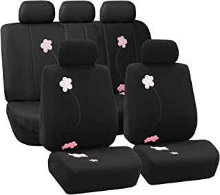 FH Group FB053115 Floral Seat Covers (Black) Full Set – Universal Fit for Cars Trucks & SUVs