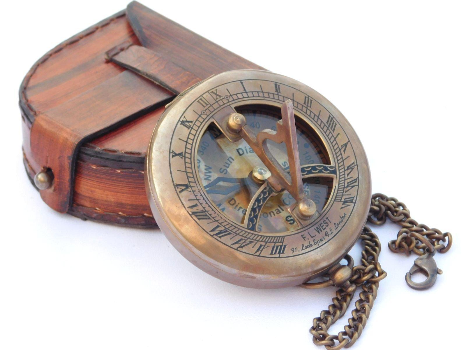 NEOVIVID Brass Sundial Compass Leather