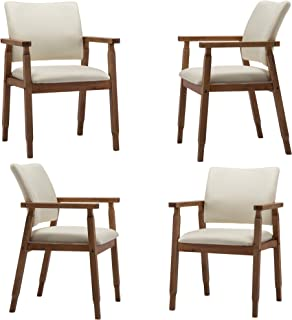 Set of 4 Dining Chairs, Wood Arm and Legs Chairs,Beige Color Living Room Chairs for Decor Furniture