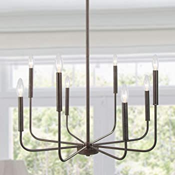 LALUZ Chandeliers for Dining Room Kitchen Island Lighting Hanging Fixture 8 Arms, 26 inches Diameter, Rust Bronze