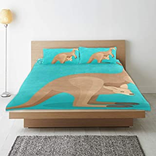 Kangaroo and Kids Duvet Cover Set 3 Pieces Microfiber Bed Quilt Cover with 2 Pillowcases Bedding Set Decorative for Kids Girls Boys Twin 66