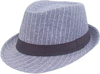 SANOMY Unisex Flat Brim Fedoras Hat with Belt Rivet Decoration Fashion Jazz Hat