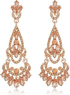 NLCAC Tear Drop Earrings Chandelier Crystal Wedding Dangle Ear Drop for Bride