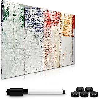 Navaris Tablero de Notas magnético - Tablero de recordatorios 40 x 60 CM Lavable - con diseño de Madera Pintada - Incluye lápiz imanes y Soporte