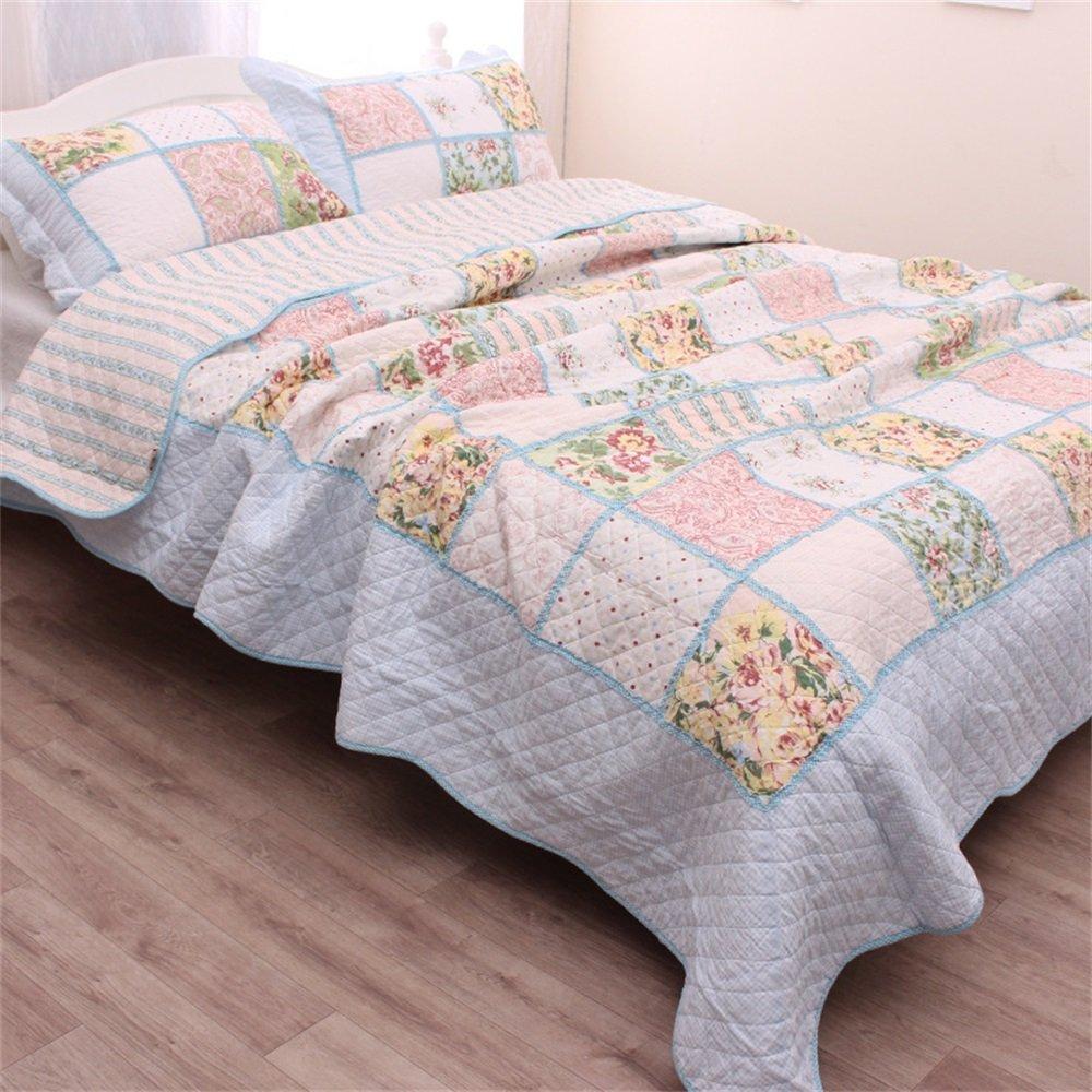 Yayi impresa colcha edredón juego de cama de tamaño Queen 100% algodón colcha con Shams Reversible Patchwork acolchado 3 piezas Juego de cama dormir manta todas las estaciones: Amazon.es: Hogar
