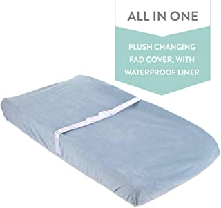 Waterproof Plush Change Pad Cover 100% Cotton Velvet | no Need for Changing Pad Liner (Blue)