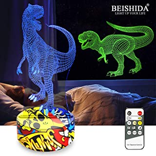 Dinosaur Toys, T Rex 3D Night Light Dinosaur Lamp Xmas Christmas Birthday Gifts for Boys Age 2 3 4 5 6 7 8+ Year Old Kids Girls Boys Gifts 7 Color Changing with Remote Control