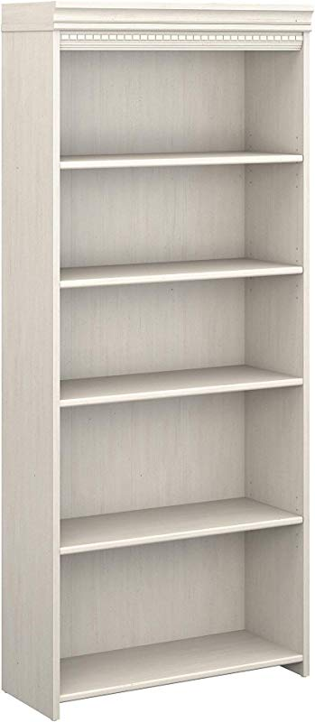 Bush Furniture Fairview 5 Shelf Bookcase In Antique White