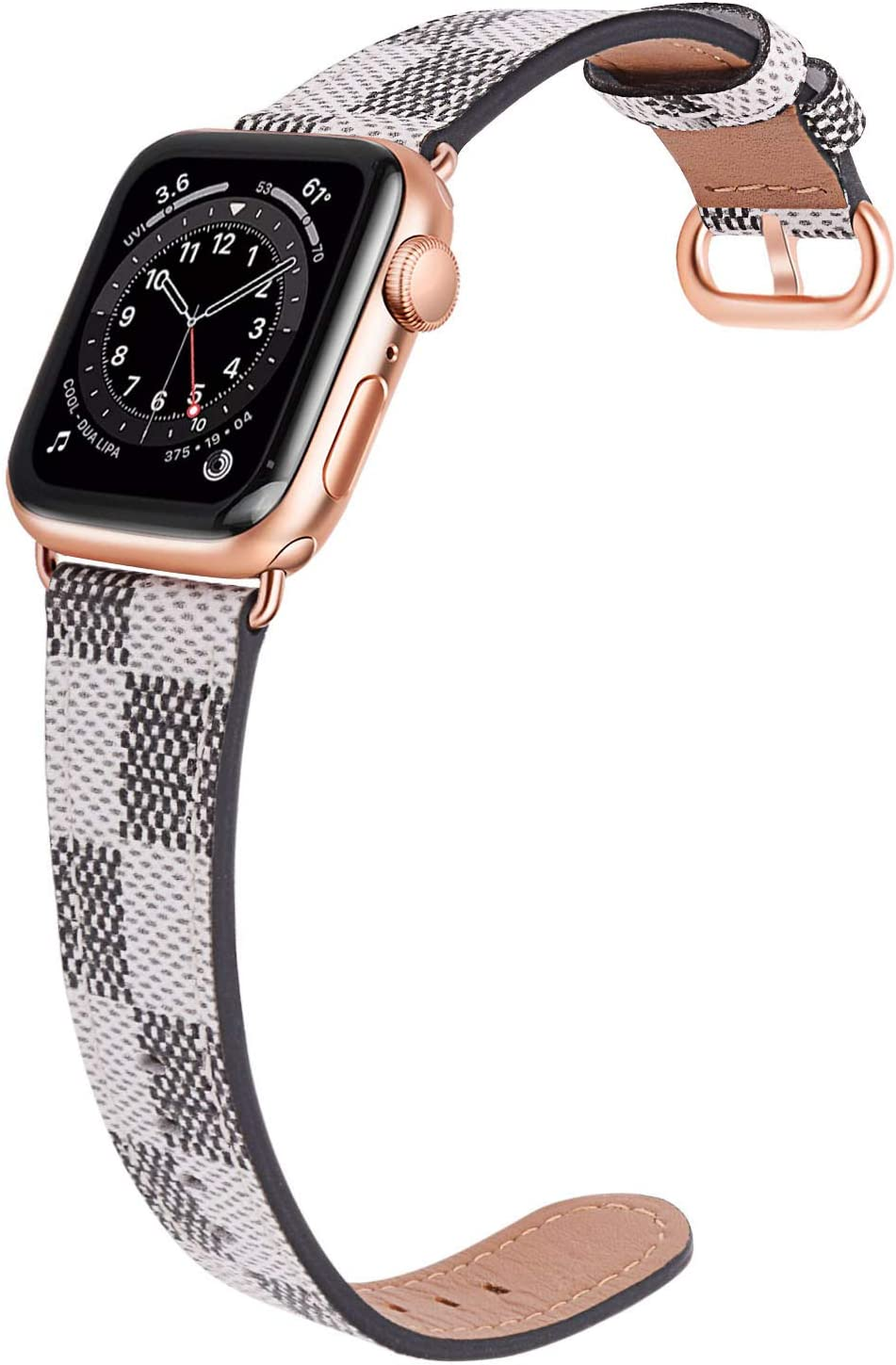 JSGJMY Leather Band Compatible with Apple Watch 38mm 40mm 42mm 44mm Women Men Strap for iWatch SE Series 6 5 4 3 2 1(White Checkered+Match SE/6/5/4/3 Rose Gold, 38mm/40mm S/M)