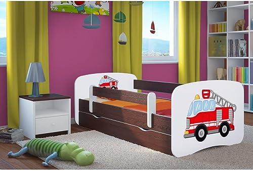 CARELLIA 'Kinderbett Feuerwehrmann 80 180cm   mit Barriere Sicherheitsschuhe + Lattenrost + Schubladen + Matratze Ofürt. Wenge